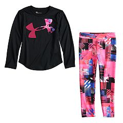 Toddler Girl Under Armour Logo Graphic Tee & Geometric Leggings Set