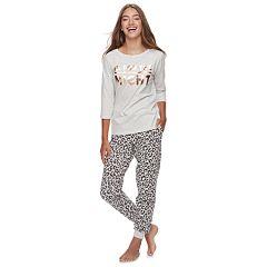 Juniors' Peace, Love & Fashion Graphic Tee & Jogger Pajama Set