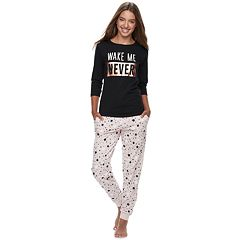 Juniors' Peace, Love & Fashion Graphic Tee & Jogger Pajama Set