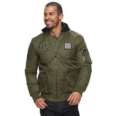 Men's XRAY Patches Flight Jacket with Removable Hoodie