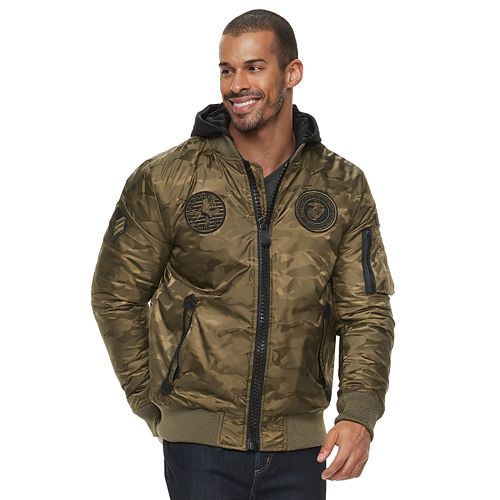 Men's XRAY  Large Zipper Flight Jacket with Removable Hoodie