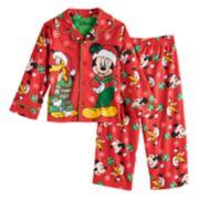 Disney's Mickey Mouse & Pluto Toddler Boy Christmas Top & Bottoms Pajama Set