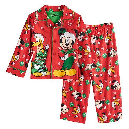 Mickey Mouse Disney Store Baby Boys Cotton Holiday Christmas Pajama Set