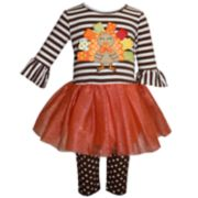 Baby Girl Blueberi Boulevard Thanksgiving Turkey Tutu Dress & Leggings Set