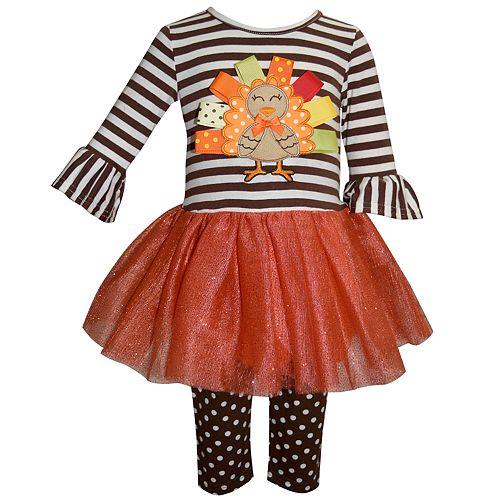 Baby Girl Blueberi Boulevard Thanksgiving Turkey Tutu Dress & Leggings Set