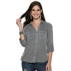 Women's Rock & Republic® Split-Back Twill Shirt