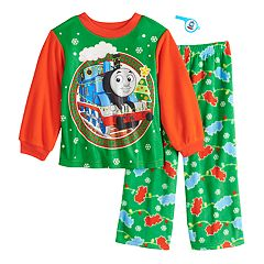 Toddler Boy Thomas the Train Christmas Top & Bottoms Fleece Pajama Set