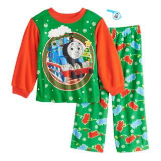 Toddler Boy Thomas the Train Christmas Top & Bottoms Fleece Pajama Set