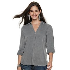 Women's Rock & Republic® Faux Button-Back Twill Shirt