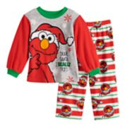 Toddler Boy Sesame Street Elmo Christmas Top & Bottoms Fleece Pajama Set
