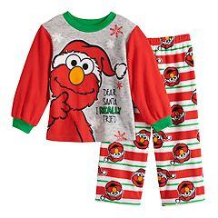 Toddler Boy Sesame Street Elmo Christmas Top & Bottoms Fleece Pajama Set