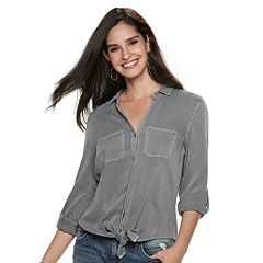 Women's Rock & Republic® Tie-Front Twill Shirt