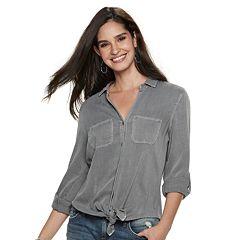 Women's Rock & Republic® Tie-Front Twill Shirt