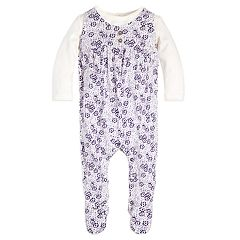 Baby Girl Burt's Bees Baby Organic Dot Floral Mock-Layer Coverall