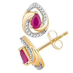 10k Gold Ruby & 1/10 Carat T.W. Diamond Teardrop Stud Earrings