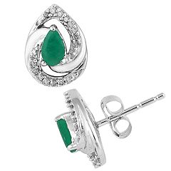 10k White Gold Emerald & 1/10 Carat T.W. Diamond Earrings