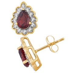 10k Gold Garnet & 1/10 Carat T.W. Diamond Teardrop Stud Earrings
