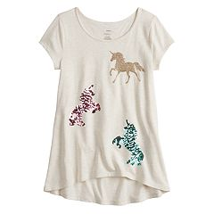 Girls 4-12 SONOMA Goods for Life™ Sequin High-Low Hem Tee