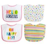 "Baby Treasures 4-pack ""Grow Strong"" Cactus & Feather Bibs"