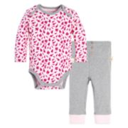 Baby Girl Burt's Bees Baby Organic Leaf Bodysuit & Ribbed Leggings Set