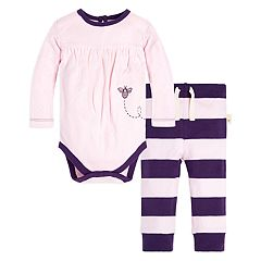 Baby Girl Burt's Bees Baby Organic Pointelle Bodysuit & Striped Pants Set