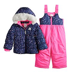 Baby Girl ZeroXposur Faux-Fur Heavyweight Puffer Jacket & Bib Snow Pants Set