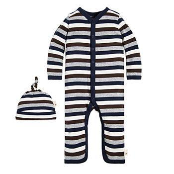 23e1fc74120 Baby Boy Burt s Bees Baby Organic Striped Coverall   Hat Set