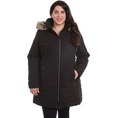 Plus Size Fleet Street Hooded Faux-Fur Microfiber Jacket