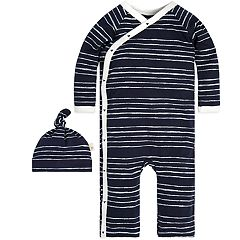 Baby Boy Burt's Bees Baby Organic Striped Kimono Coverall & Hat Set