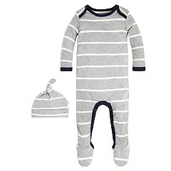 Baby Boy Burt's Bees Baby Organic Striped Footed Coverall & Hat Set