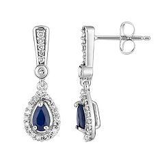 10k White Gold Sapphire & 1/5 Carat T.W. Diamond Halo Drop Earrings
