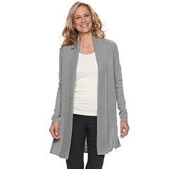 Petite Dana Buchman Pleated Open-Work Cardigan Sweater