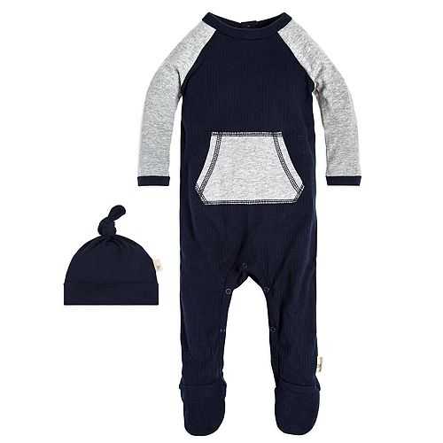 61018b10a Baby Boy Burt s Bees Baby Organic Ribbed Footed Coverall   Hat Set