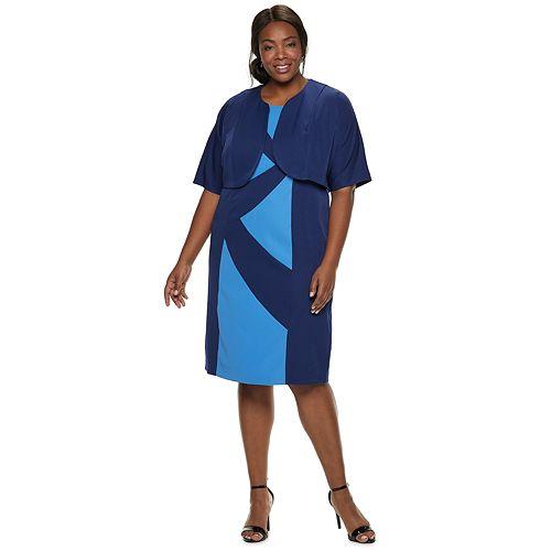 Plus Size Maya Brooke Color Block Jacket Dress