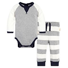 Baby Boy Burt's Bees Baby Organic Coloblock Bodysuit & Striped Pants Set