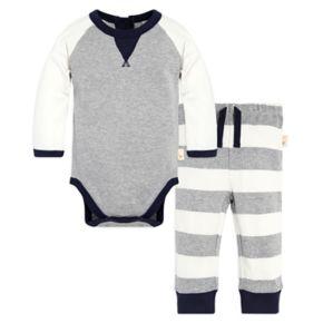 Baby Boy Burt's Bees Baby Organic Coloblock Bodysuit & Striped Pants Set