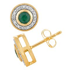 10k Gold Emerald & 1/5 Carat T.W. Diamond Milgrain Halo Stud Earrings