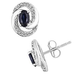 10k White Gold Sapphire & 1/10 Carat T.W. Diamond Swirl Stud Earrings
