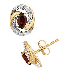 10k Gold Garnet & 1/10 Carat T.W. Diamond Swirl Stud Earrings