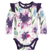 Baby Girl Burt's Bees Baby Organic Watercolor Floral Ruffle Bodysuit