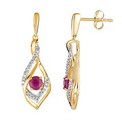10k Gold Ruby & 1/8 Carat T.W. Diamond Drop Earrings