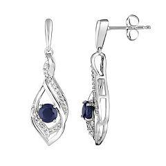10k White Gold Sapphire & 1/8 Carat T.W. Diamond Drop Earrings