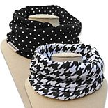 Bazzle Baby 2-pack Band O Bib Black & White Infinity Scarves