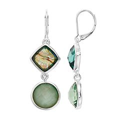 Dana Buchman Simulated Abalone Kite & Circle Drop Earrings