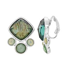 Napier Simulated Abalone Cluster Clip-On Earrings