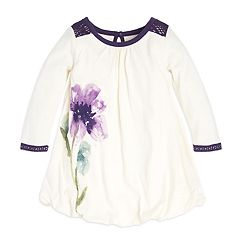 Baby Girl Burt's Bees Baby Organic Watercolor Floral Bubble Dress