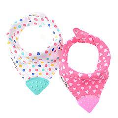 Bazzle Baby 2-pack Pink Dots & Hearts Bandana Bibs