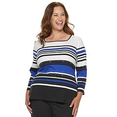 Plus Size Alfred Dunner Studio Embellished Striped Top