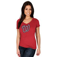 Women's Majestic Washington Nationals Rhinestone Tee