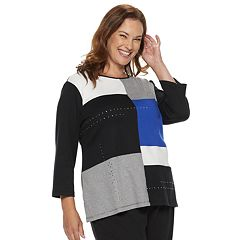 Plus Size Alfred Dunner Studio Colorblock Nailhead Top